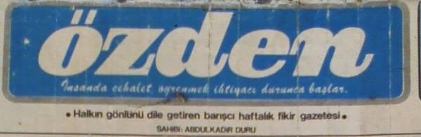 Özden Gazetesi Logosu 20 Aralık 1977 Salı