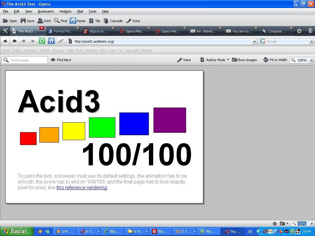 Opera 10 Alpha Acid3 Sonucu