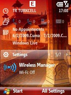 WM 6.1 ana ekranda kablosuz yöneticisi paneli