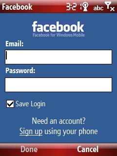 Facebook uygulaması giriş ekranı