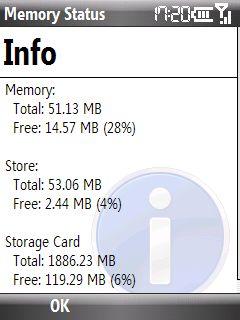 64 MB belleğin sadece 51.13 MB kadarı bana ait. :)