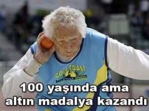 100 yaşında altın madalya!