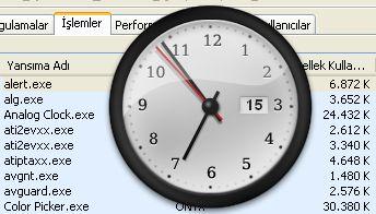 Opera Analog Clock uygulamasının EXE dosyası ne kadar bellek kullanıyor bakın.