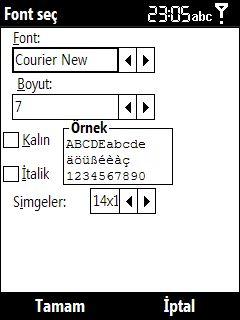 Total Commander font ayar sayfası