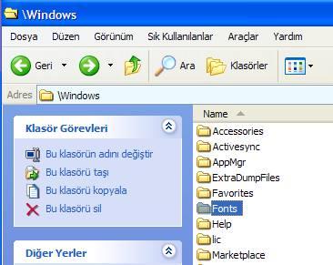 Windows/Fonts klasörü