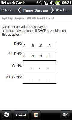 WM Wi-Fi DNS isim sunucu değişikliği sayfası.