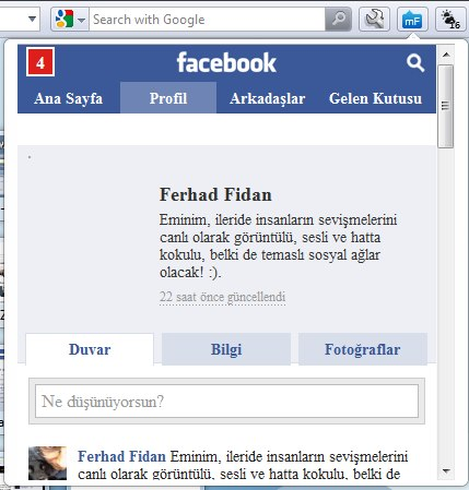 Opera 11 Facebook extension miniFeed