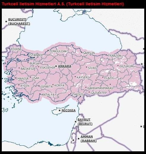 Turkcell kapsama alanı haritası