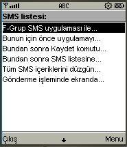 F-Grup SMS, ileti listesi