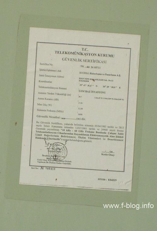 Avea baz istasyonu kabininde güvenlik sertifikası (Eskişehir, Şirintepe, Asilzade Sk.)