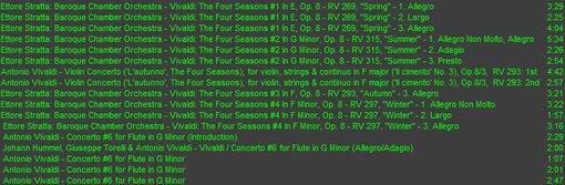 Antonio Vivaldi Four Seasons Violin .Concerto list.