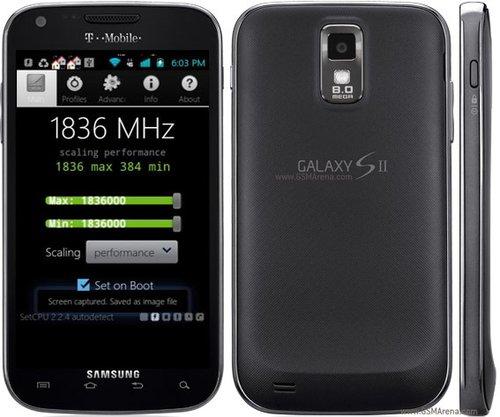 Samsung Galaxy S II işlemcisi 1836 MHz frekansta.