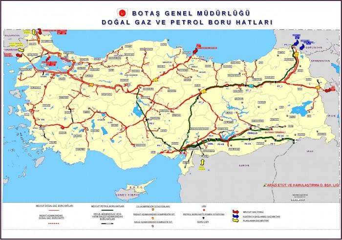 Türkiye doğalgaz ve petrol boru hatları haritası