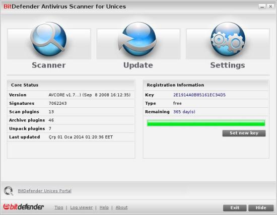 Bitdefender Antivirus Scanner for Unices arayüzü