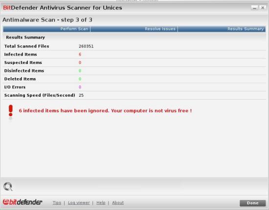 Bitdefender Antivirus Scanner for Unices tarama sonucu.