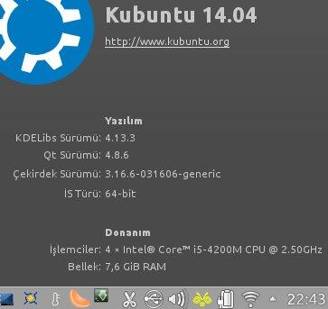Sistemin son hali. Kubuntu 14.04 ve Bumblebee Inndicator