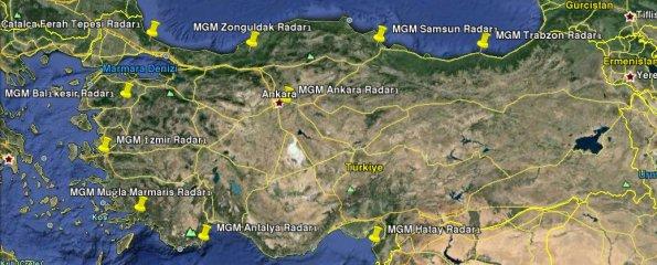 MGM Türkiye radarları.