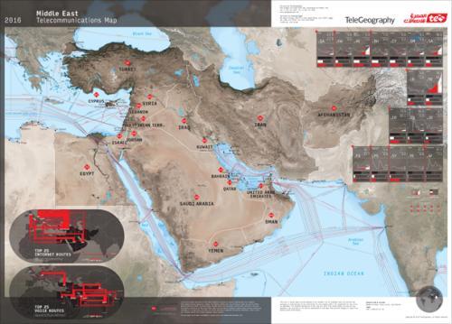 TeleGeography 2016 orta Doğu denizaltı fiber haritası