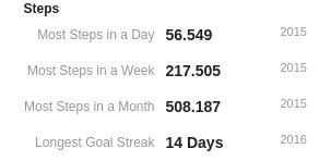 Bir günde en fazla 56 bin adım atmışım. Eskişehir'i baştan aşağı dolaştığım bir gün hani. Aynı hafta 217 bin adım atmışım, aynı ay da 508 bin adım kadar... Adım hedefini en fazla 14 gün tutturmuşum...