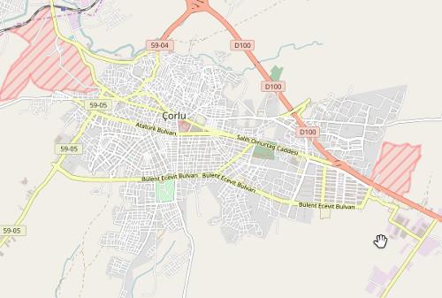 Çorlu OSM haritası