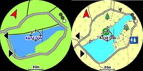 Garmin haritasında ve OpenTopoMap haritasında kazak gölü.