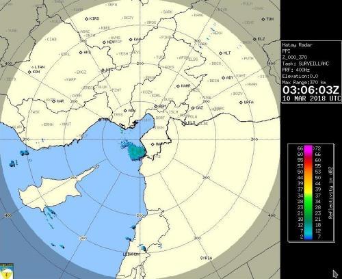 Hatay radarı görüntüsü. (Yağışsız havada bu görüntü. :)
